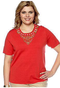 Alfred Dunner Plus Size Monaco Beaded Yoke Short Sleeve Sweater