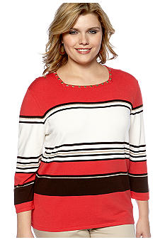 Alfred Dunner Plus Size Monaco Striped Sweater