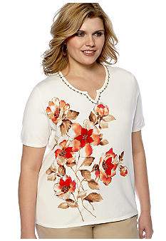 Alfred Dunner Plus Size Monaco Floral Short Sleeve Knit Sweater