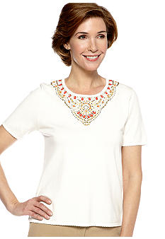 Alfred Dunner Petite Monaco Beaded Yoke Short Sleeve Sweater