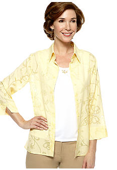 Alfred Dunner City Of Lights Butterfly Burnout Button Up Blouse