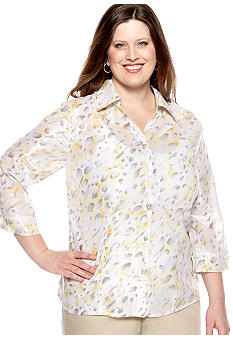 Alfred Dunner Plus Size City Of Lights Shimmer Animal Print Button Up Blouse