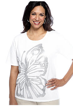 Alfred Dunner Plus Size City Of Lights Sequin Butterfly Top