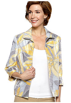 Alfred Dunner Petite City Of Lights Shimmer Abstract Printed Jacket