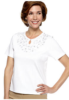 Alfred Dunner Petite City Of Lights Mini Floral Applique Knit Top