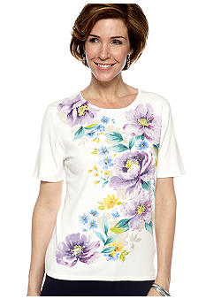 Alfred Dunner Notting Hill Floral Print Short Sleeve Sweater