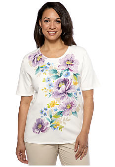 Alfred Dunner Plus Size Notting Hill Floral Print Short Sleeve Sweater