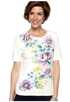 Alfred Dunner Petite Notting Hill Floral Print Short Sleeve Sweater
