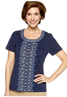 Alfred Dunner Santorini Embroidered Knit Top