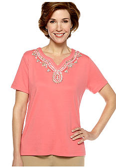 Alfred Dunner Santorini Short Sleeve Beaded Yoke Knit Top