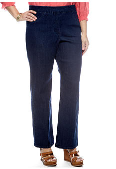 Alfred Dunner Plus Size Santorini Pull On Slim Fit Denim Pant Short Inseam