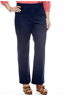 Alfred Dunner Plus Size Santorini Pull On Slim Fit Denim Pant Average Inseam