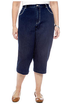 Alfred Dunner Plus Size Pocket Stitch Denim Capri
