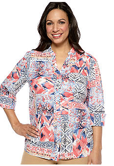 Alfred Dunner Plus Size Santorini Ikat Patch Printed Shirt