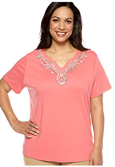 Alfred Dunner Plus Size Santorini Short Sleeve Beaded Yoke Knit Top
