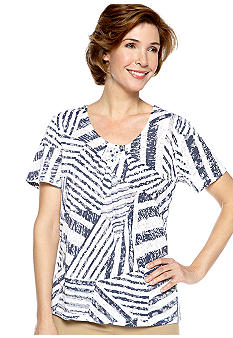 Alfred Dunner Petite Santorini Spliced Box Short Sleeve Top