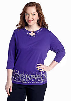 Alfred Dunner Plus Size Lake Ontario Embroidered Border Top