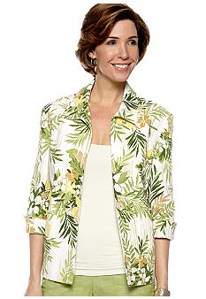 Alfred Dunner Al Fresco Tropical Print Jacket