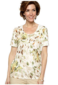 Alfred Dunner Al Fresco Abstract Printed Knit Top