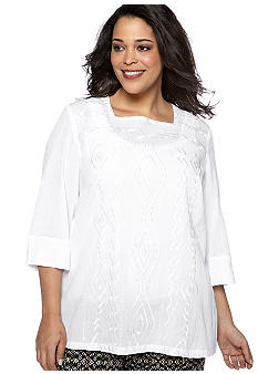 Alfred Dunner Plus Size Tribal Fusion Embroidered Tunic