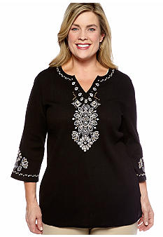Alfred Dunner Plus Size Tribal Fusion Embellished Split Neck Tunic