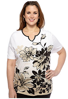 Alfred Dunner Plus Size Floral Border V-Neck Knit Top