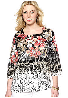 Alfred Dunner Plus Size Tribal Fusion Floral Border Knit Top