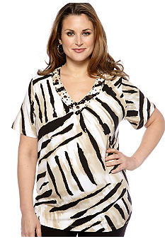 Alfred Dunner Plus Size Tribal Fusion Animal Print Embellished V-Neck Knit Top