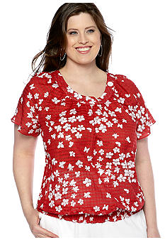 Alfred Dunner Plus Size Jet Setter Daisy Peasant Blouse
