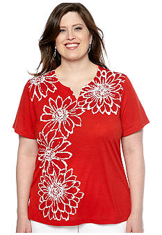 Alfred Dunner Plus Size Jet Setter Placed Floral Knit Top