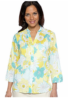 Alfred Dunner Walking On Sunshine Floral Printed Blouse