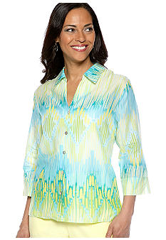 Alfred Dunner Walking On Sunshine Ikat Printed Button Up Shirt