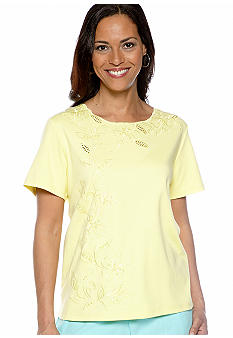 Alfred Dunner Walking On Sunshine Floral Embroidered Knit Top