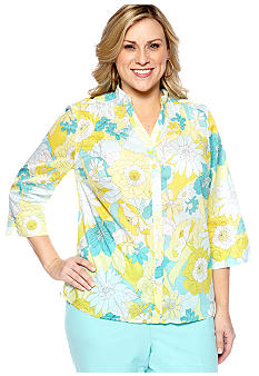 Alfred Dunner Plus Size Walking On Sunshine Floral Printed Blouse