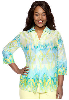Alfred Dunner Plus Size Walking On Sunshine Ikat Printed Button Up Shirt