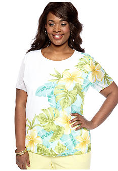 Alfred Dunner Plus Size Walking On Sunshine Placed Floral Top