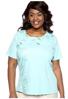 Alfred Dunner Plus Size Walking On Sunshine Floral Embroidered Knit Top