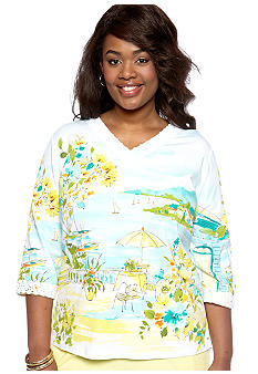 Alfred Dunner Plus Size Walking On Sunshine Scenic Tee