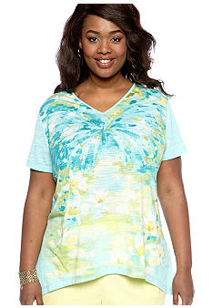 Alfred Dunner Plus Size Walking On Sunshine Watercolor Knit Top