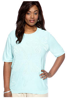 Alfred Dunner Plus Size Solid Butterfly Short Sleeve Sweater