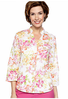 Alfred Dunner Laguna Beach Floral Print Embroidered Blouse