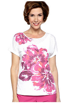 Alfred Dunner Laguna Beach Placed Floral Burnout Tee