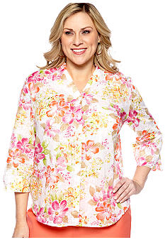 Alfred Dunner Plus Size Laguna Beach Floral Print Embroidered Blouse