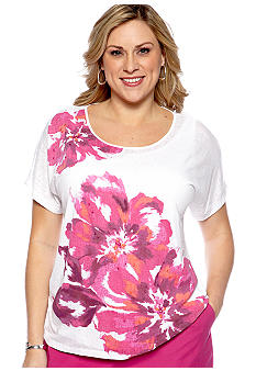 Alfred Dunner Plus Size Laguna Beach Placed Floral Burnout Tee
