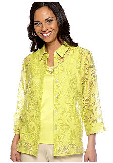 Alfred Dunner Sahara Desert Burnout Layered Blouse
