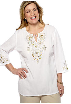 Alfred Dunner Plus Size Sahara Desert Embroidered Yoke Tunic