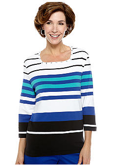 Alfred Dunner French Riviera Stripe Square Neck Knit Top