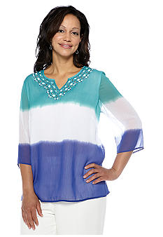 Alfred Dunner Plus Size French Riviera Dip Dyed Tunic