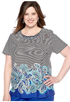 Alfred Dunner Plus Size French Riviera Paisley Border Print Blouse