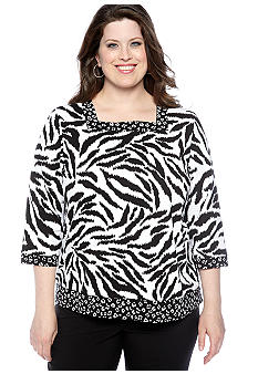Alfred Dunner Plus Size French Riviera Square Neck Animal Print Knit Top